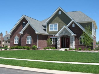 Luxury Home, Brick / Shake Siding, Stone Archway Entrance, Professional Landscaping - Madison Custom Homes, Inc., Indianapolis, Central Indiana