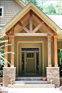 Custom Home Front Porch: Two Stained Wood Double Columns; Madison Custom Homes Inc., Indianapolis, Indiana