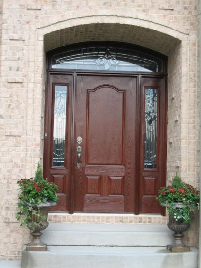 Custom Home Exterior Entrance, Hand-Carved Front Door, Cut-Glass Panels; Indianapolis, Indiana