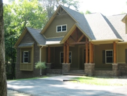 Custom Home, Custom Home Exterior Entrance, Stained Wood Columns, Front Porch; Madison Custom Homes Inc., Indianapolis