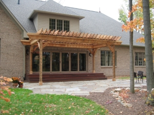 Luxury Home, Brick Exterior, Oak Gable-Covered, Natural Stone Tile Patio, Wooded Backyard - Madison Custom Homes, Inc., Indianapolis, Central Indiana