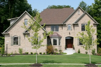 Custom Home, All Brick Exterior, Gabled Roof, Bay Windows; Indianapolis, Indiana