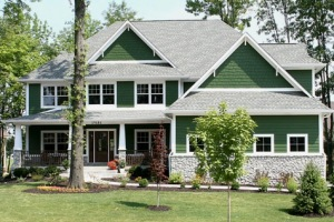 Custom Built Luxury Home, Shake Siding, Stone Apron, Wrap-Around Front Porch, Professional Landscaping, Indianapolis Indiana Home Builder, Madison Custom Homes Inc.