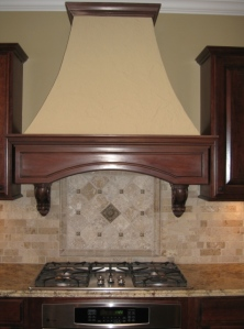 Custom Home Kitchen: Custom Range Hood, Brick Backsplash, Mosaic Tile Backsplash, Granite Countertops, Built-In Stovetop, Indianapolis, Indiana