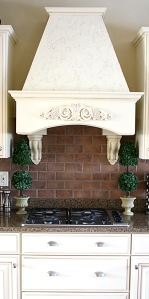 Custom Home Kitchen, Granite Counters, Faux-Brick Backsplash, Built-in Stovetop, Custom Range Hood; Carmel, Indiana, Madison Custom Homes, Inc.
