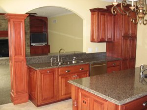 Hand-Made Kitchen Cabinets, Double-Sided Stainless Steel Sink, Breakfast Bar Pass-Through, Island Work Area, Luxury Homes Built - Indianapolis, Central Indiana