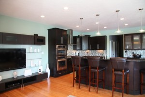 Custom Kitchen, Open Floor Plan Design, Granite Countertop Breakfast Bar, Built-In Range Hood; Custom Homes Built, Indianapolis, Indiana