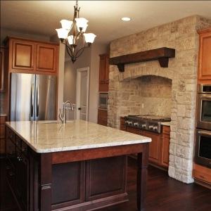 Custom Home Kitchen: Custom Wood Cabinets w/ Textured Glass Panel Inserts, Mosaic Tile Backsplash, Granite Countertops, Indianapolis, Indiana