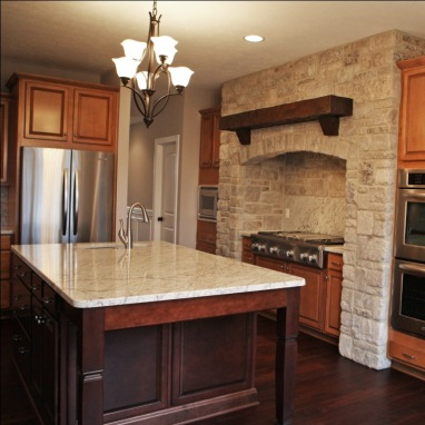 Custom Home Kitchen: Custom Wood Cabinets w/ Textured Glass Panel Inserts, Mosaic Tile Backsplash, Granite Countertops, Indianapolis, Indiana