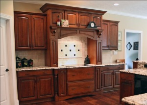 Flat Range Top, Mosaic Tile Backsplash, Stained Cabinets, Open Kitchen