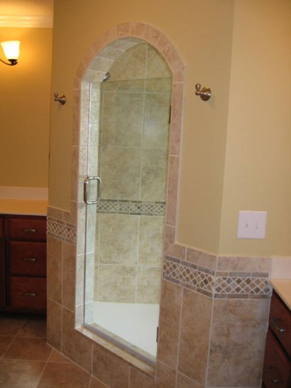 Walk-In Shower / Steam Stall, Glass Door, Granite Tile; Custom Luxury Homes Built, Indianapolis, Central Indiana