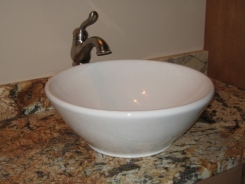 Master Bathroom: Vanity Top-Mounted Sink Bowl, Granite Countertop, Custom Luxury Homes Built, Indianapolis, Indiana, Madison Custom Homes, Inc.