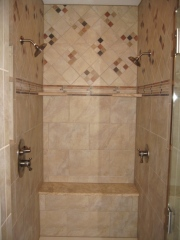 Master Bathroom: Two-Person Walk-In Shower Stall, Glass Door, Rain Shower Heads, Dual Controls, Built-In Bench; Luxury Homes Built, Indianapolis, Indiana, Madison Custom Homes, Inc.