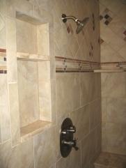 Master Bathroom: Marble-Tiled Walk-In Shower Stall, Rain Shower Head, Built-In Shelves / Bench; Custom Luxury Homes Built, Indianapolis, Indiana, Madison Custom Homes, Inc.