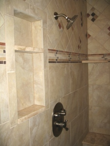 Master Bathroom: Marble-Tiled Walk-In Shower Stall, Rain Shower Head, Built-In Shelves / Bench; Custom Luxury Homes Built, Indianapolis, Indiana, Madison Custom Homes, Inc.
