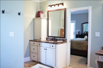 Custom-Built Home Bathroom: Recessed Sink, Under-Counter Storage, Granite Counter, Luxury Home Builder, Indianapolis, Indiana, Madison Custom Homes Inc.