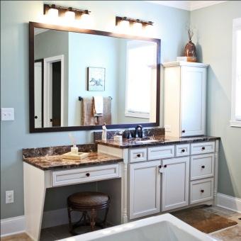 Custom-Built Home Bathroom: Make-up Desk & Stool, Granite Counter