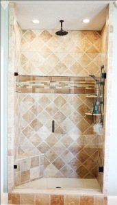 Master Bathroom, Walk-In Shower, Granite Tile, Built-In Toiletry Shelves, Indiana Luxury Home Builder, Indianapolis, Madison Custom Homes Inc.