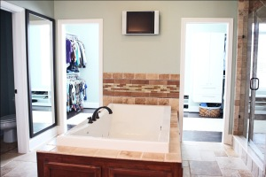 Custom-Built Home Bathroom: Double Walk-In Closets, Bathtub, Walk-In Shower