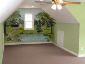 Child's Bedroom, Sleep Alcove, Hand Painted Mural, Wall Art, Lighted Ceiling Fan Light Fixture