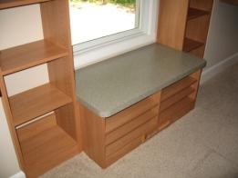 Custom-Built Luxury Home Master Bedroom Walk-In Closet: Custom Wood Shelving, Window Seat Bench - McCordsville, Indianapolis, Indiana, Madison Custom Homes, Inc.