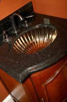 Custom Luxury Home Bathroom, Glass Sink, Black Marble Counter, Antique Brass Fixtures, Indianapolis, Madison Custom Homes Inc.