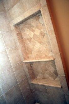 Master Bathroom, Walk-In Shower, Granite Tile, Built-In Toiletry Nook, Indiana Luxury Home Builder, Indianapolis, Madison Custom Homes Inc.