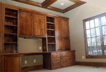 Home Office: Custom Built Wall Unit / Desk, Wood Accented Ceiling, Luxury Homes Built, Indianapolis, Central Indiana, Madison Custom Homes Inc.