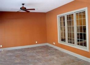 Luxury Home Veranda: Stone Tile Flooring, Ceiling Fan, Bay Windows - Madison Custom Homes, Inc., Indianapolis, Central Indiana