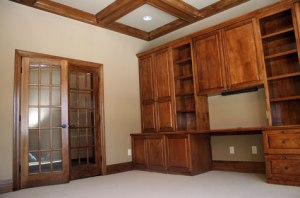 Hand Built Oak Desk / Bookcase, Pane-Glass Double Doors, Wall-to-Wall Carpeting, Wood Trimmed Ceiling