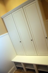 Transition / Mud Room, Custom-Built Storage Cabinet, Cubby Holes; Indianapolis, Indiana - Madison Custom Homes Inc.