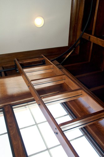 Design Detail: Library, Sliding Ladder, Rail System, Custom Luxury Homes, Indianapolis, Central Indiana, Madison Custom Homes Inc.