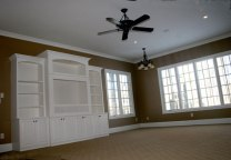 Custom Home Family Room, Hand-Built Bookcase, Ceiling Fan, Large Bay Windows, Recessed Lighting, Indianapolis, Indiana