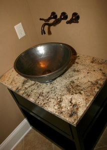 Custom-Built Bathroom Floating Sink, Antique Cabinet, Marble Top, Wall-Mounted Faucets / Spigot