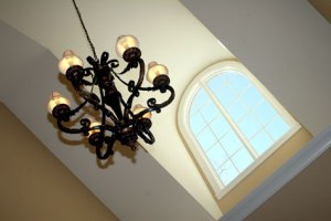 Luxury Home Foyer: Design Detail, Wrought Iron Chandelier, Skylight; Luxury Homes Built to Your Specifications; Indianapolis, Indiana - Madison Custom Homes Inc.
