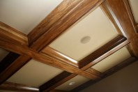 Home Office Ceiling Detail, Carved Wood Beams, Pre-Wired / Built-In Audio / Video Speakers
