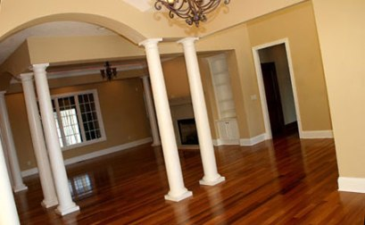 Great Room, Classic Columns, Hardwood Floor, Built-In Cabinetry, Fireplace, Custom Luxury Homes, Indianapolis, Indiana - Madison Custom Homes Inc.