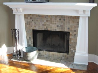 Architectural Design Detail: Fireplace, Mosaic Tile, Marble Apron, Custom-Made Mantle, Homes Built to Your Specifications, Indianapolis, Indiana, Madison Custom Homes Inc.