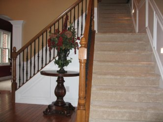 Architectural Detail: Foyer, Staircases, Carved Hand Rails, Hardwood Floors