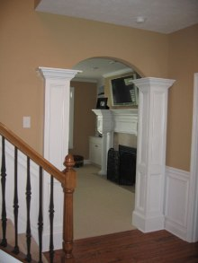 Design Detail: Foyer Entry, Columns, Wood Handrail, Luxury Homes, Indianapolis, Indiana, Madison Custom Homes Inc.