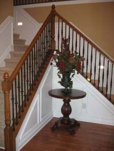 Design Details, Double Staircase, Custom-Built Railing, Runner Lights; Custom Homes Built to Specification, Indianapolis, Central Indiana