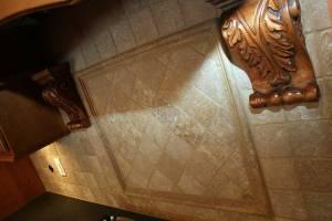 Kitchen Backsplash, Ceramic Tile, Hand-Carved Wood Accents