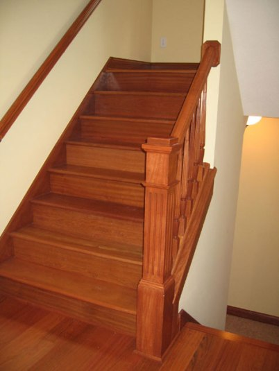 Custom Luxury Home, Hand-Built All Hardwood Staircase, Landing, Hand Rails; Indianapolis, Central Indiana - Madison Custom Homes Inc.