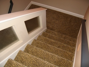 Design Detail: Decorative Staircase Enclosure, Leopard Print Carpet, Custom Home Builder, Indianapolis, Indiana