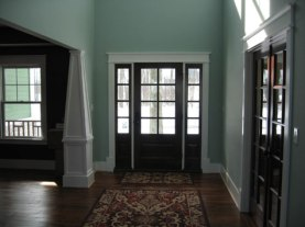 Custom Home Foyer / Entryway, Pane Glass Door, Hardwood Floor, Column Accents, Indianapolis, Central Indiana, Madison Custom Homes Inc.