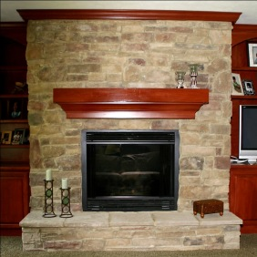 Cut Stone Fireplace, Custom-Built Cherry Wood Bookcases / Wall Unit, Lighted Ceiling Fan, Custom Luxury Home, Family Room, Indianapolis, Indiana, Madison Custom Homes Inc.