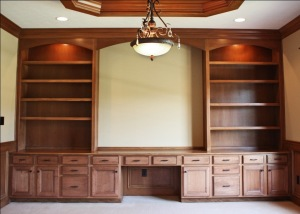 Luxury Home Fishers/Geist: Home Office, Custom Built Wall Unit, Book Shelves, Madison Custom Homes, Inc., Indianapolis, Central Indiana