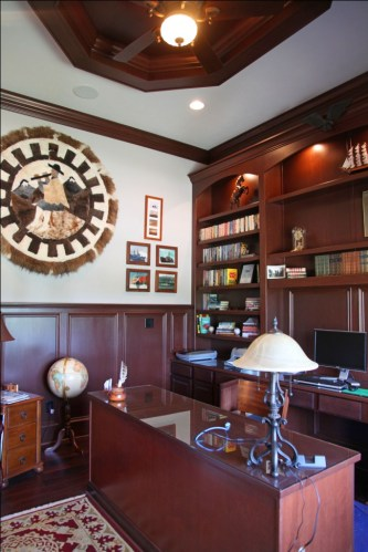 Luxury Home: Home Office, Custom Built Wall Unit, Desk, Book Shelves, Decorative Ceiling Beam / Molding, Madison Custom Homes, Inc., Indianapolis, Indiana