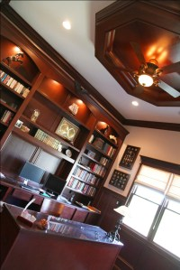 Luxury Home Office, Custom Built-in Wall Unit, Book Shelves, Desk, Decorative Beam / Molding Ceiling, Indianapolis, Indiana