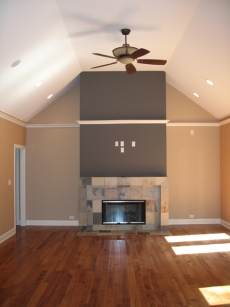 Luxury Home Great Room, Ceiling Fan, Recessed Lighting, Custom Marble Fireplace, Hardwood Floors, Indianapolis, Indiana, Madison Custom Homes Inc.